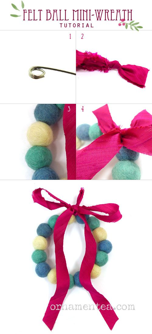 Make a felt ball wreath with memory wire and ribbon. This is a lovely Christmas or Holiday craft ...