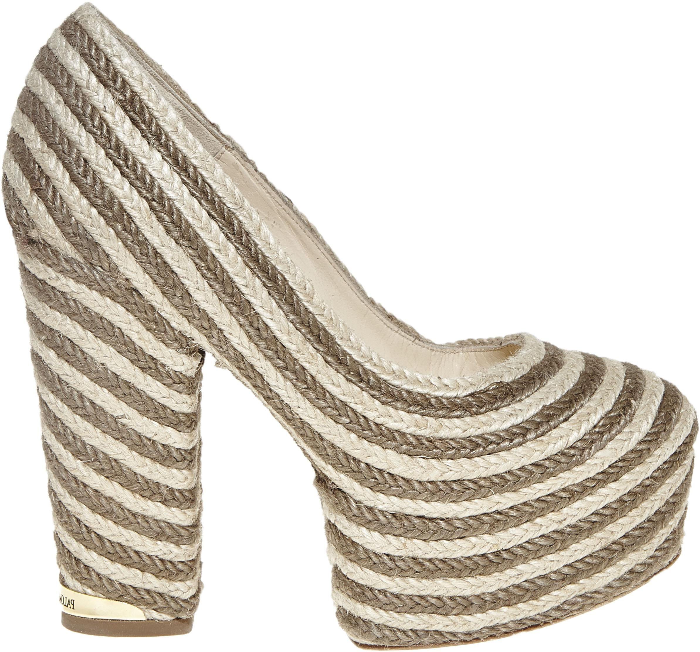 Paloma Barcelo' white and gold cord platfrom heel - SS14