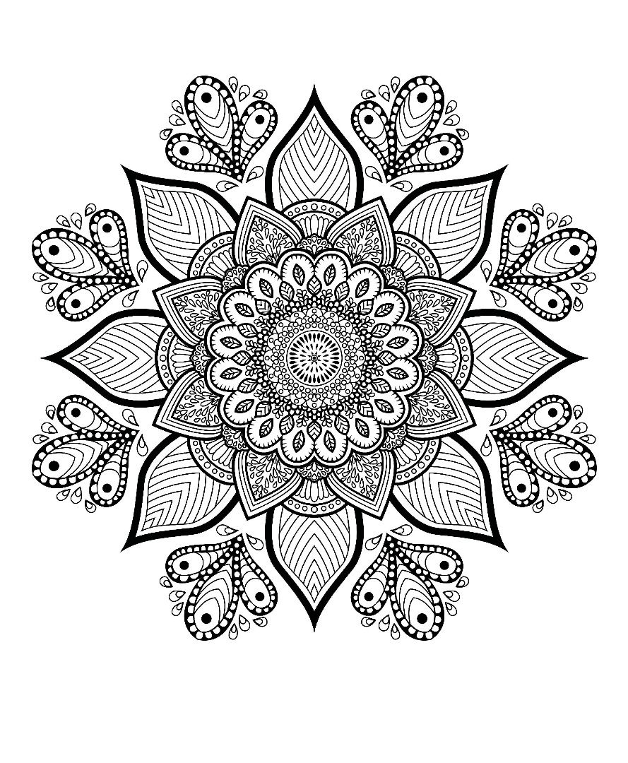 Grab this free flower-themed mandala adult coloring page ...