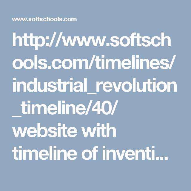 Industrial Revolution Inventions Timeline