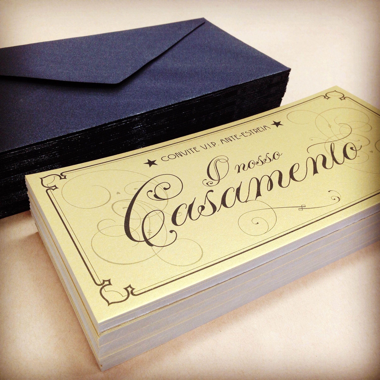 Convites Vintage Cinema Golden Ticket Para Casamento Da Inês E Do Nelson Wedding Invitation For