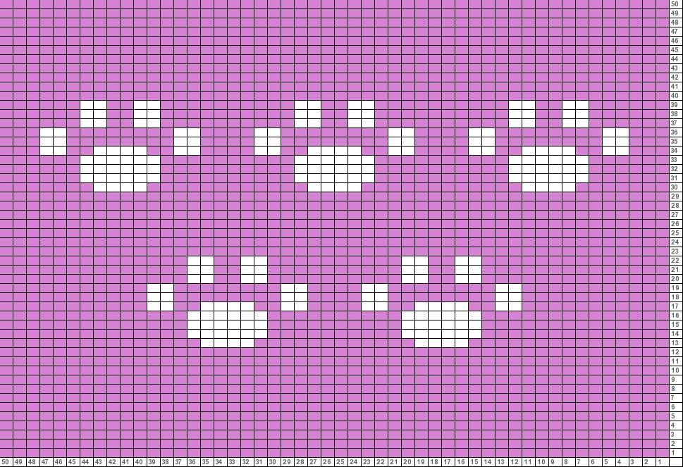 Tricksy Knitter Charts Paw prints Copy (2) Jacquard