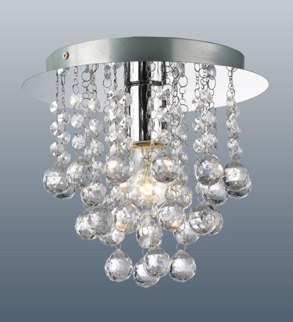 Modern round chrome ceiling light flush fitting crystal droplet modern round chrome ceiling light flush fitting crystal droplet chandelier light aloadofball Gallery