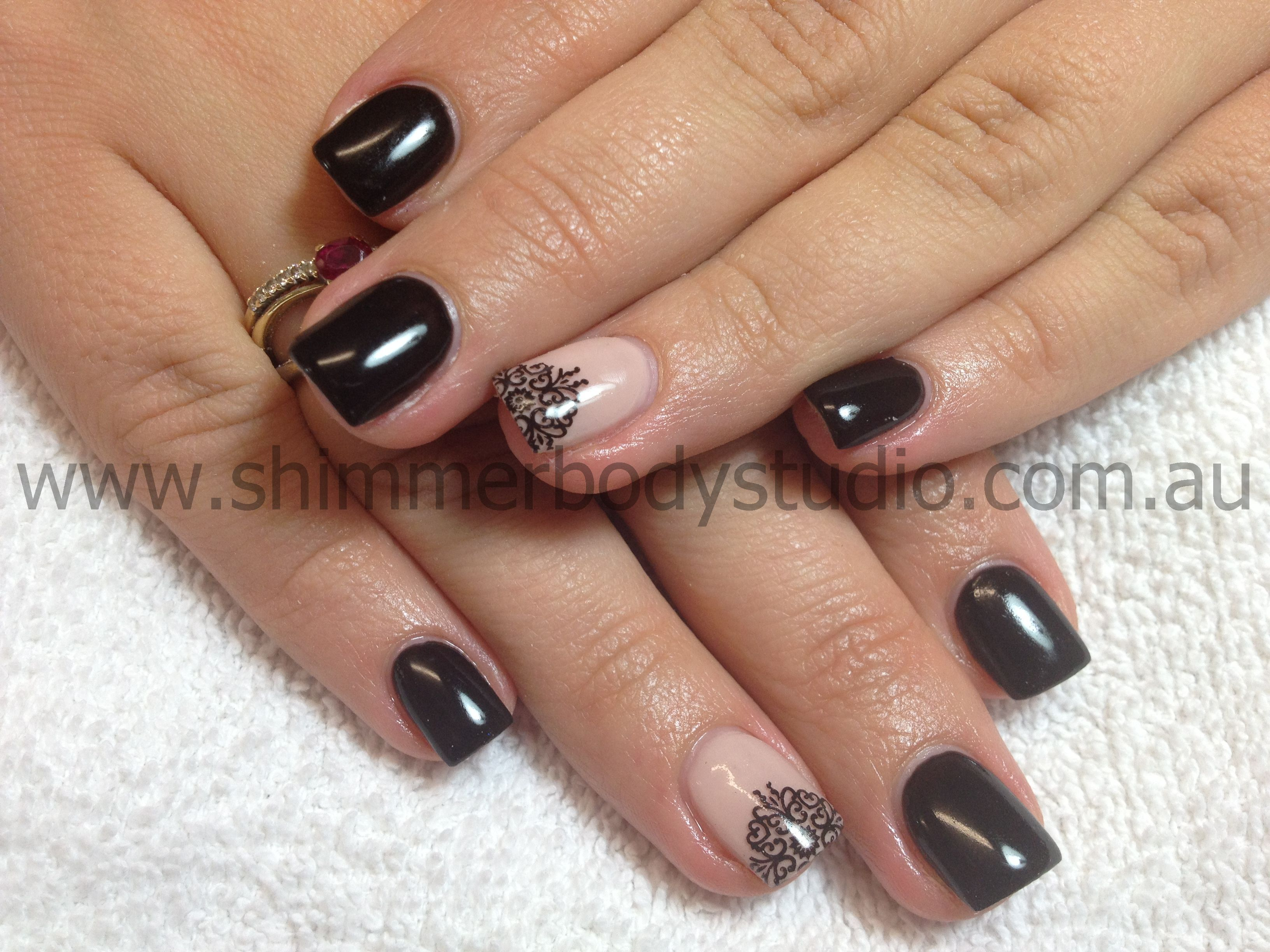Gel nails, nude nails, black nails, konad stamping nail art. | Nails ...