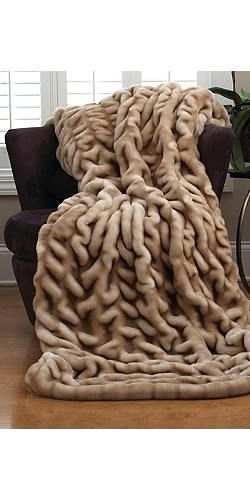 Champagne faux fur ruched throw | Fabulous-Furs