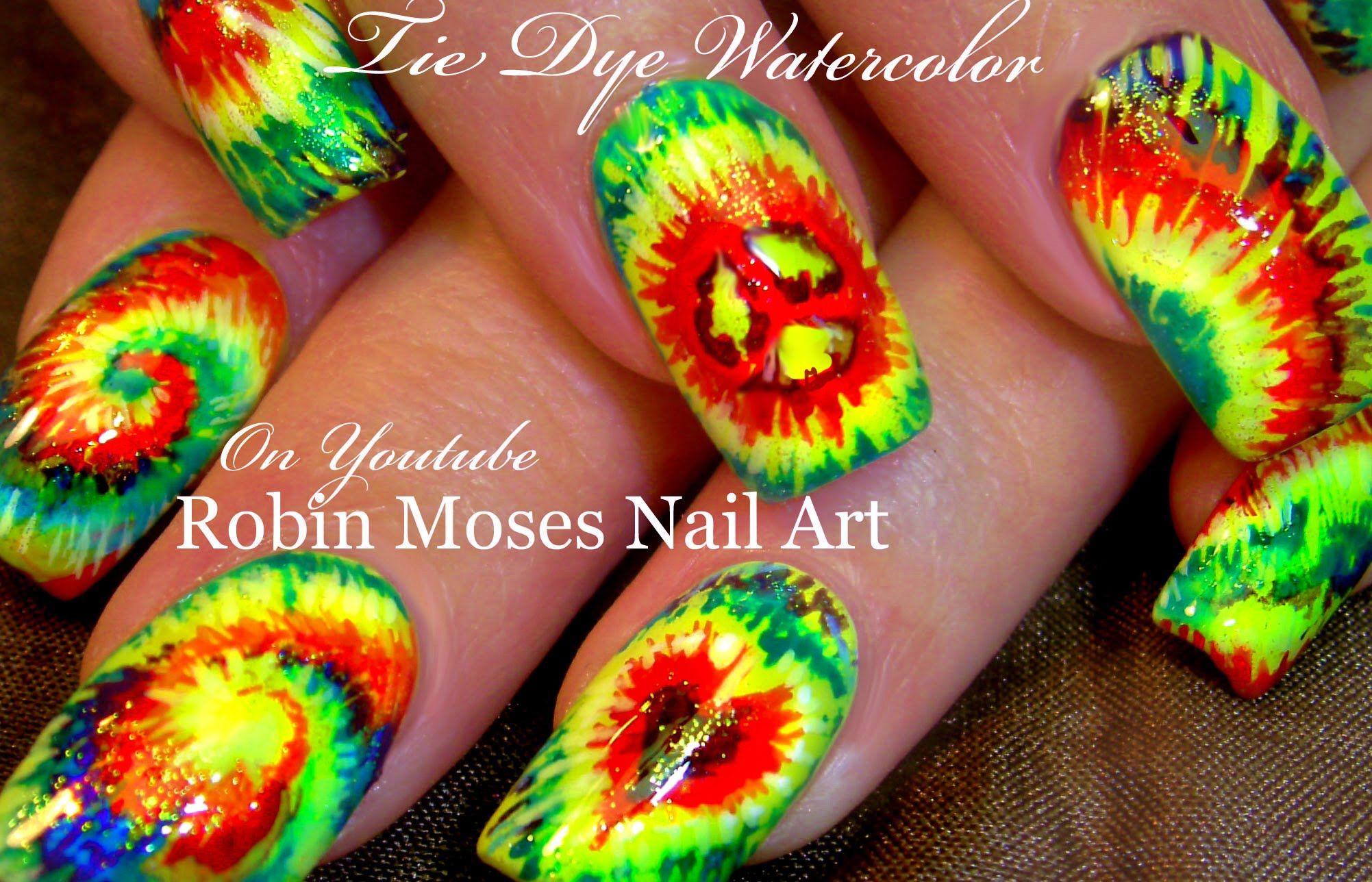 Diy Tie Dye Nails Hippie Rasta Watercolor Nail Art Design Tutorial