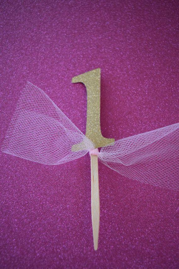 Princess Pink & Glittery Gold 1 Cupcake by ItsyBitsyPaperCuts