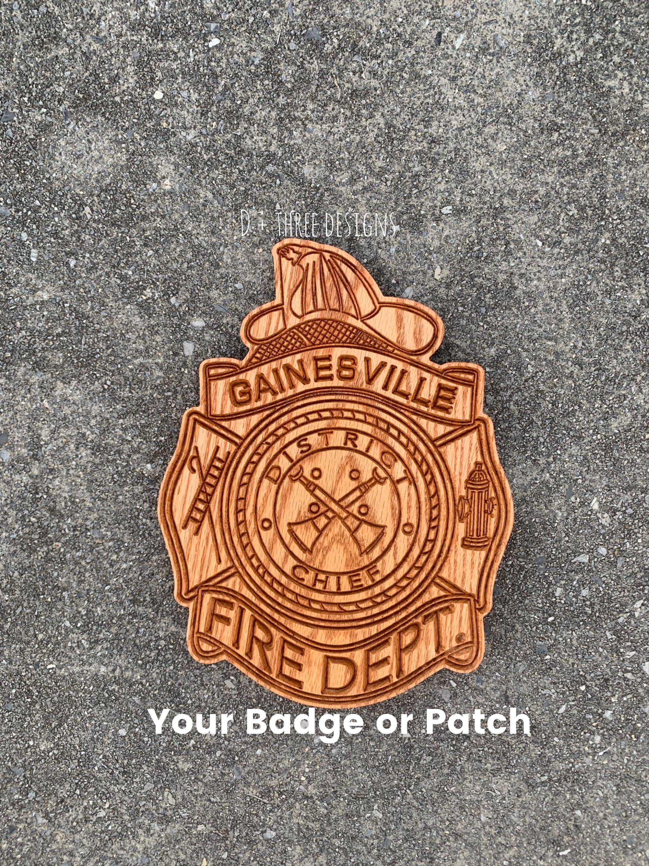 Gainesville fire department wooden badge fire fighter