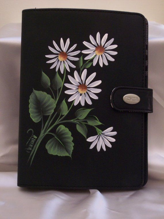 Hand Painted Vinyl  Notebook with White Daisies