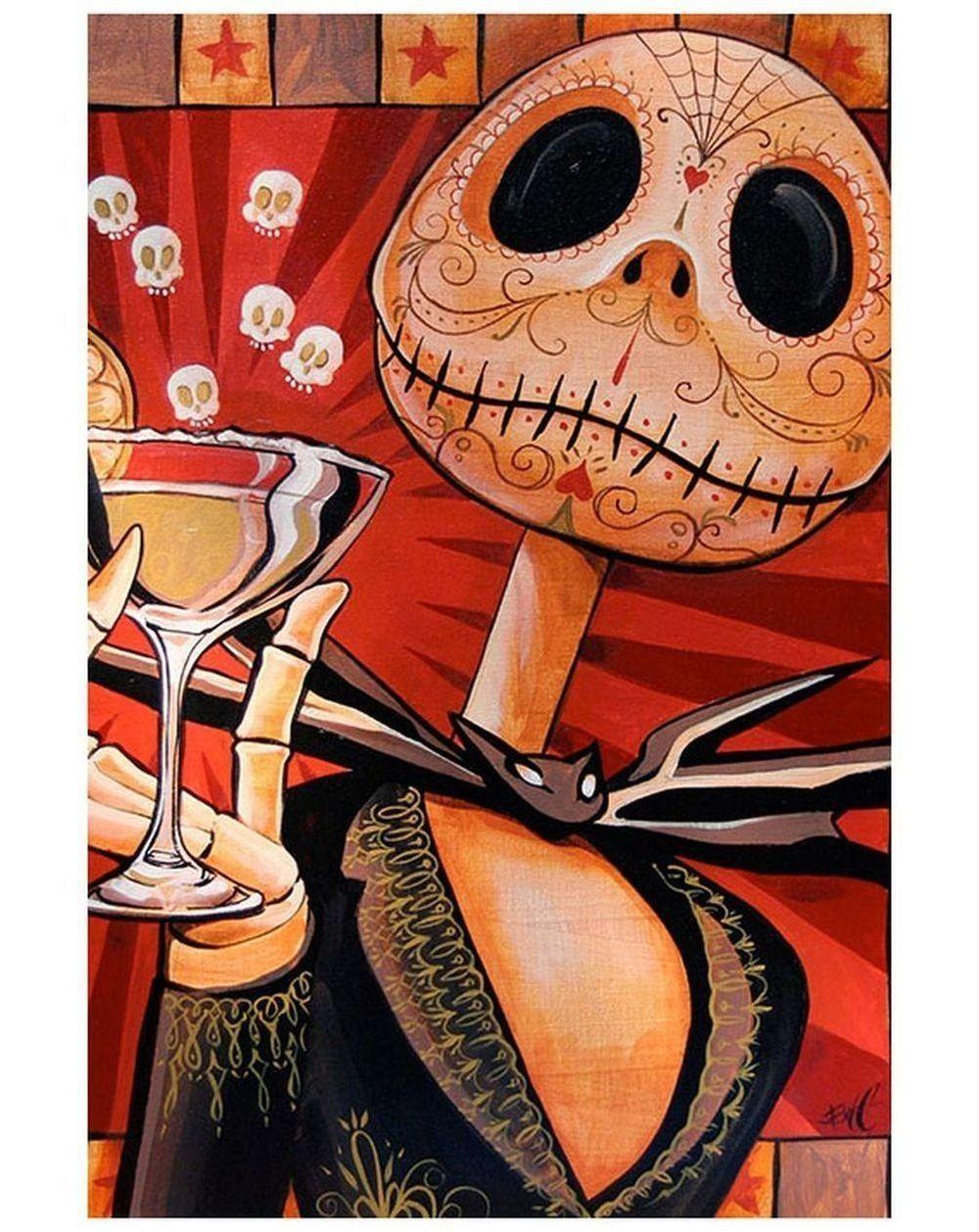 "Jack Celebrates The Dead::Día de los Skellington! 12x18"" Print by artiste Mike Bell.. ."