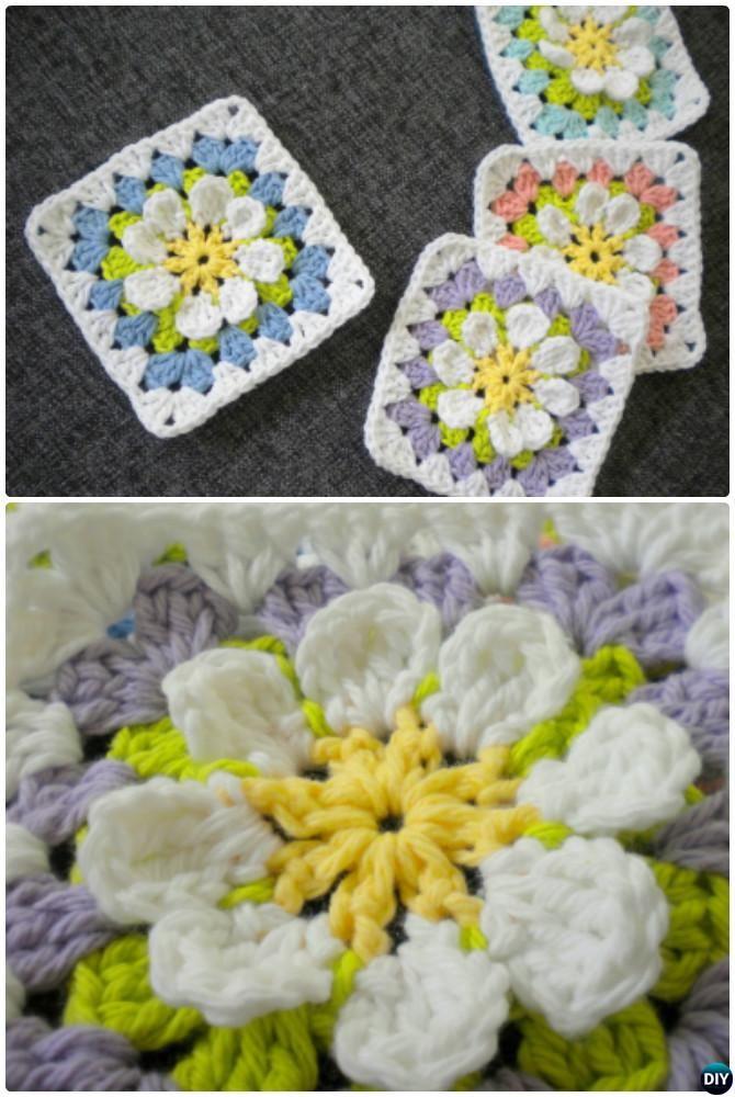 Crochet Flower Garden Granny Square Free Pattern Crochet