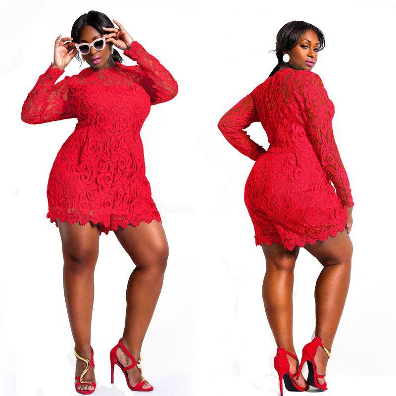 5e95cc192a Women Red Lace Elegant Plus Size Jumpsuit Short Cute Overall Romper  Playsuit Club Wear  Plus size jumpsuits SJ0035MK  -  13.94   Rose Clubwear  Wholesale ...