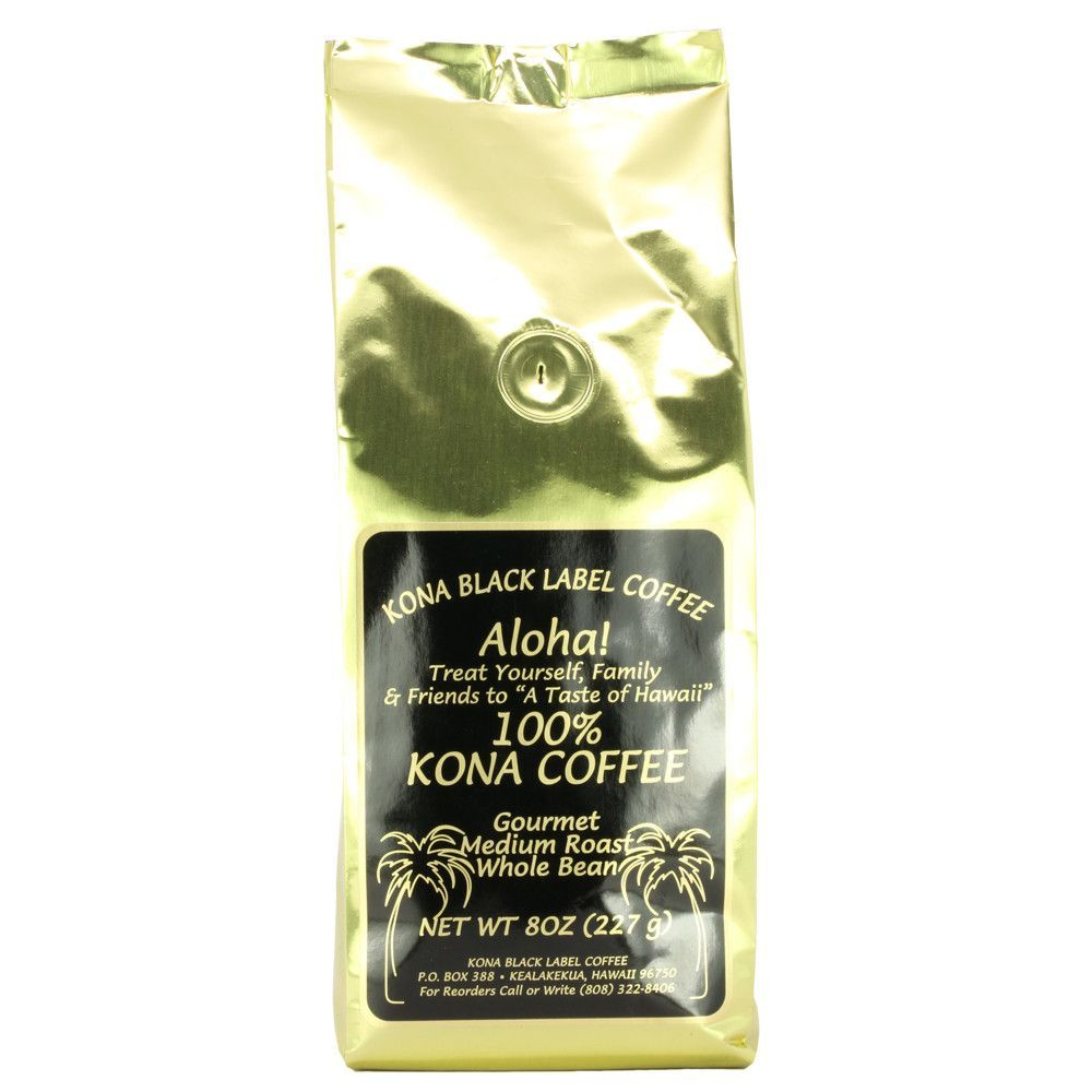 Black Label 100% Kona Coffee Medium Roast Whole Bean - 6 oz