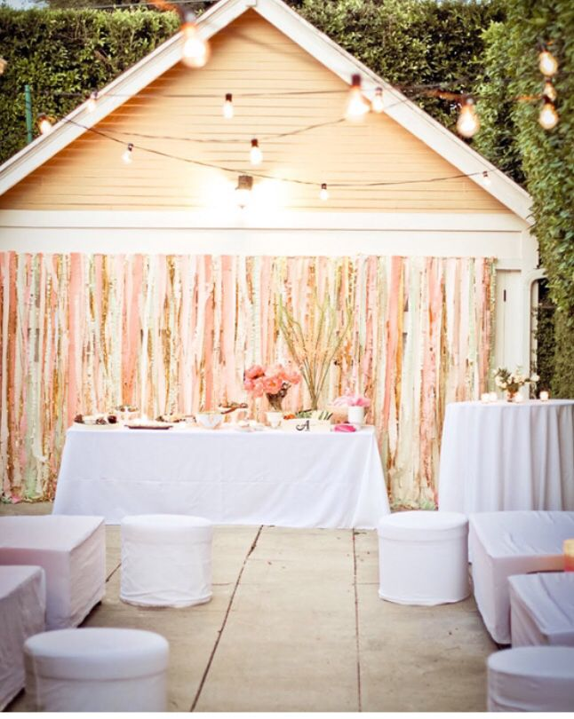 Shiny streamers to cover a garage door! & Shiny streamers to cover a garage door! | Backyard Wedding ...