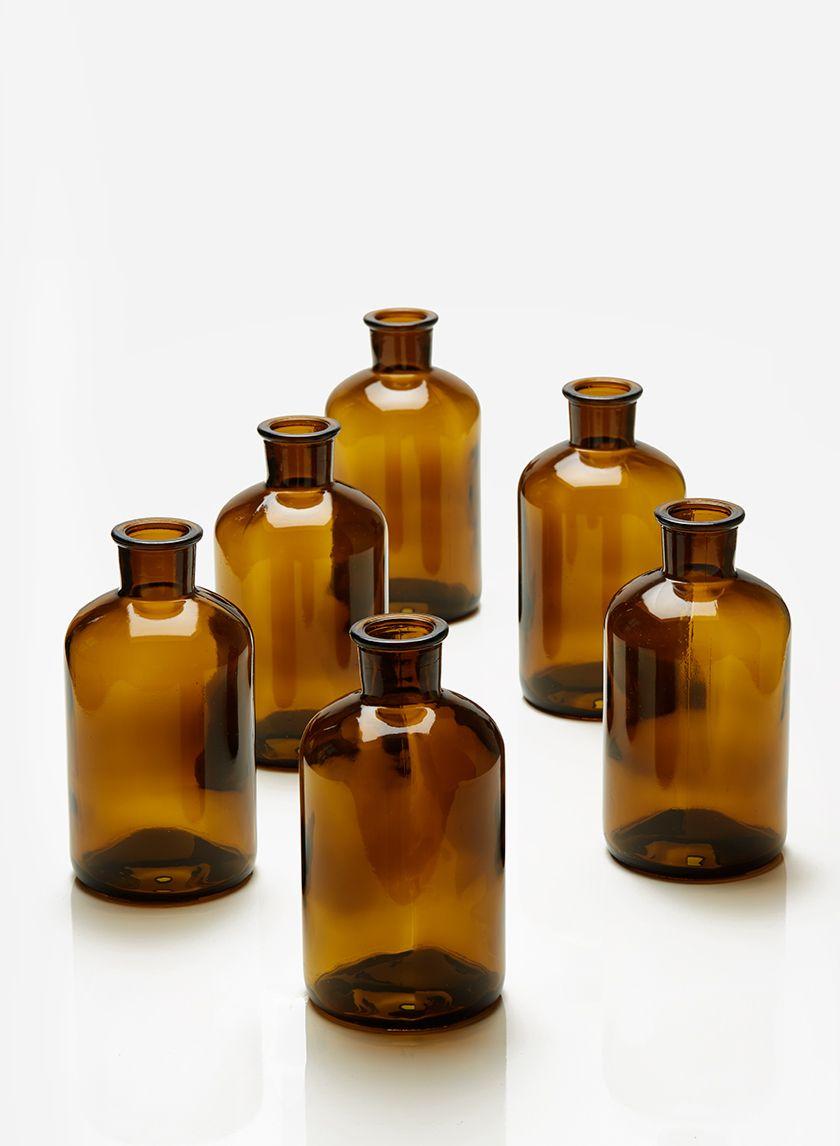 6 1 4in Dark Amber Glass Bottle Vase Set Of 6 Amber Glass