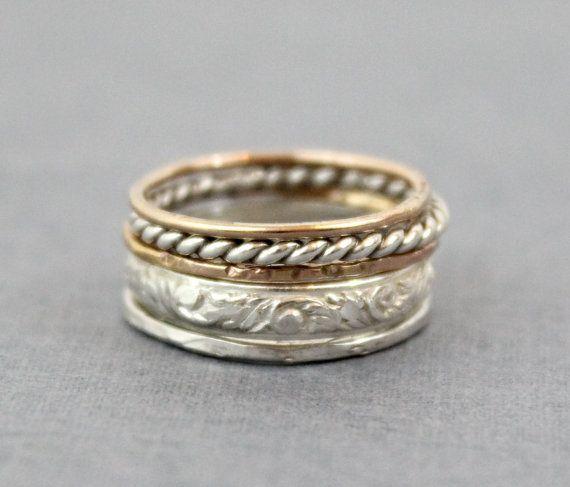 Handcrafted 14 K or rose et argent sterling .925 Triple Band Spinner Ring