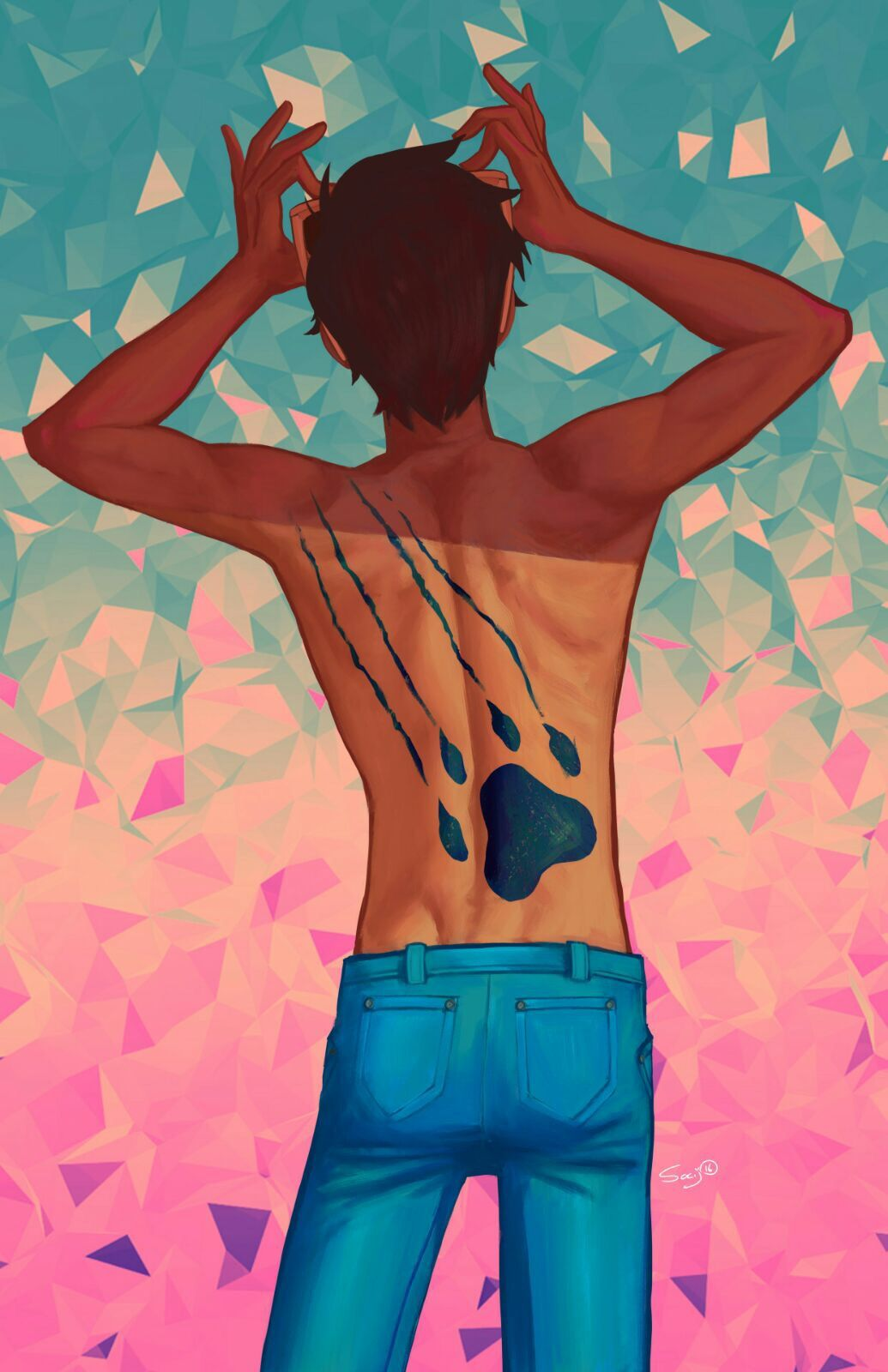 Lance and his Blue Lion paw print tattoo on his back from Voltron Legendary Defender