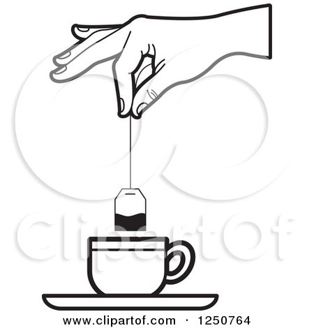 1250764 Clipart Of A Black And White Hand Dipping A Tea Bag Into A Cup Royalty Free Vector Illustration Free Vector Illustration Vector Free Clip Art Pictures