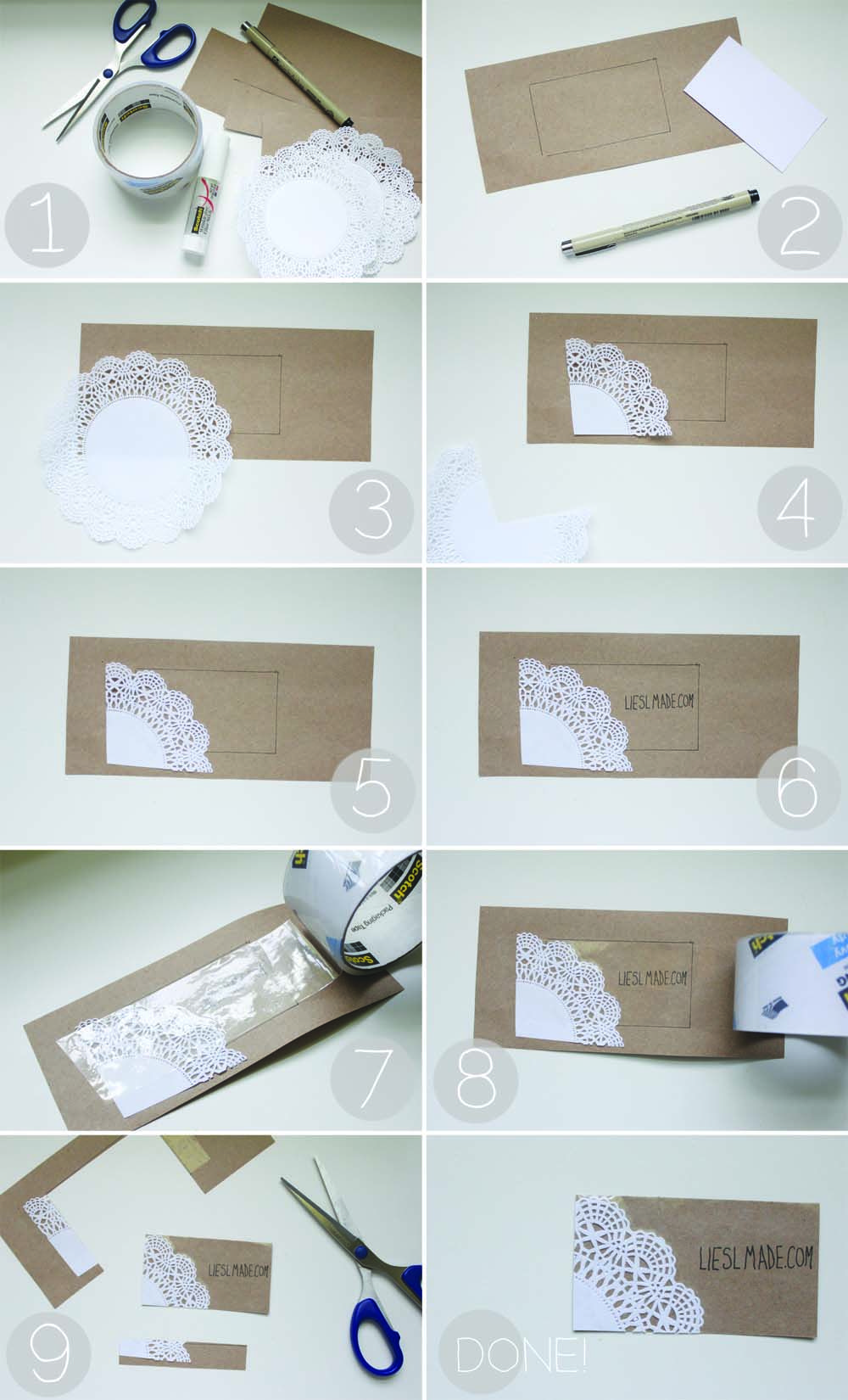 Simple kraft paper and lace doily business card diy liesl made simple kraft paper and lace doily business card diy liesl made reheart Gallery