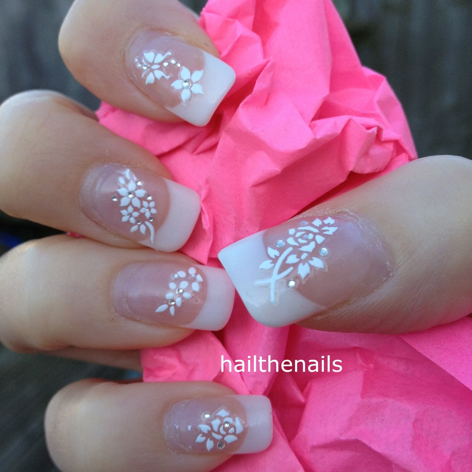 White Nail Art Stickers Nail Decals Wraps Sparkly Flower Butterfly ...
