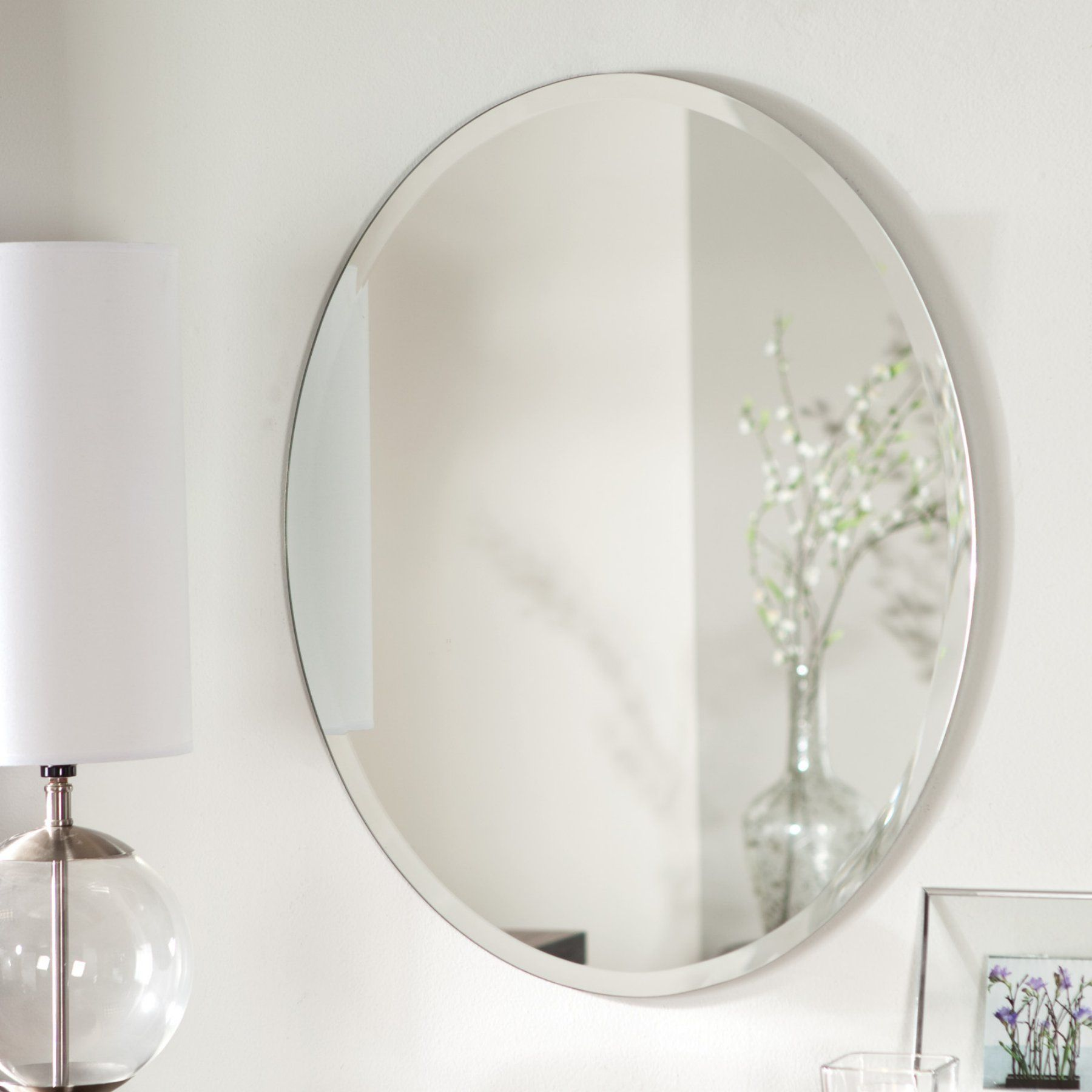 DÃ Cor Wonderland Odelia Oval Bevel Frameless Wall Mirror 22w X 28h In