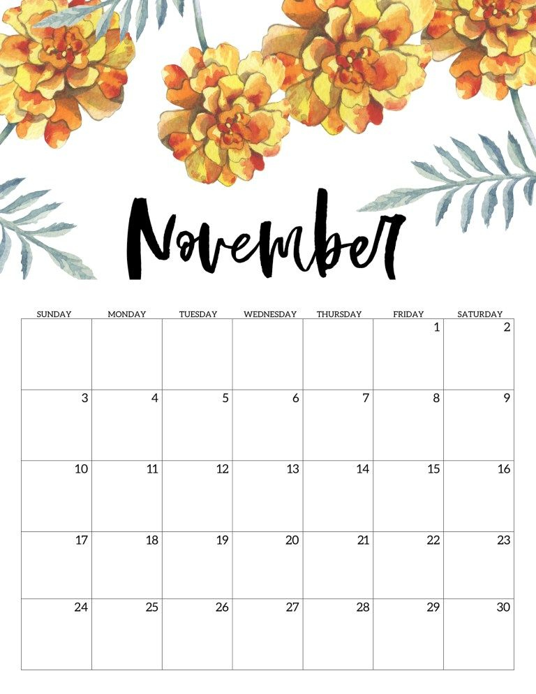 graphic regarding Free Printable Nov Calendar identified as Cost-free Printable Calendar 2019 - Floral Calendars No cost