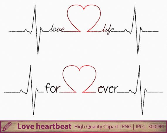 Love Life Clipart, Forever Heartbeat Clip Art, Wedding Invitation, Tattoo  Design, Scrapbooking