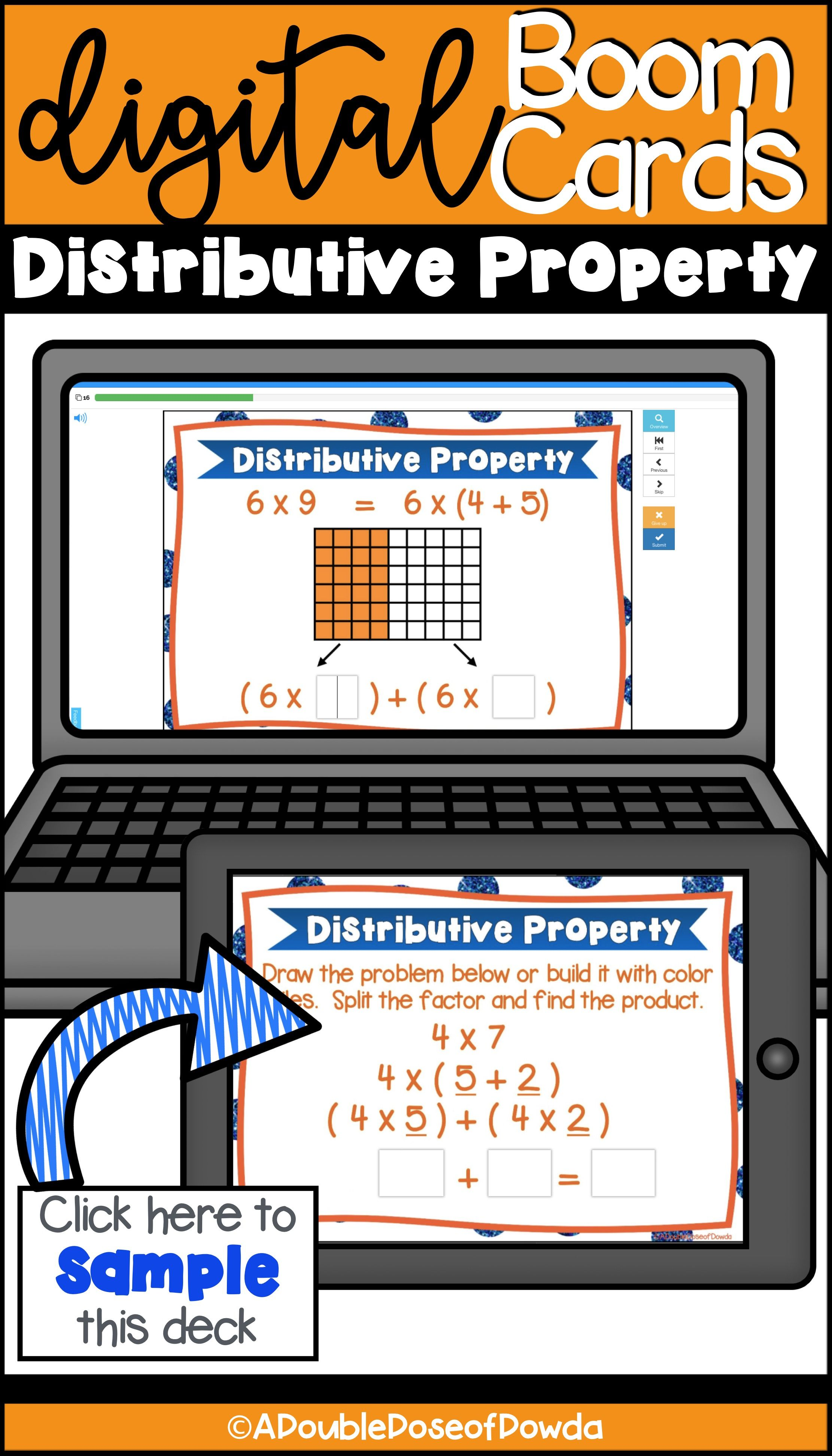 Self Grading Distributive Property Of Multiplication Task Cards For Boom Learning Boomcards Elementary Math Centers Task Cards Distributive Property Task Cards