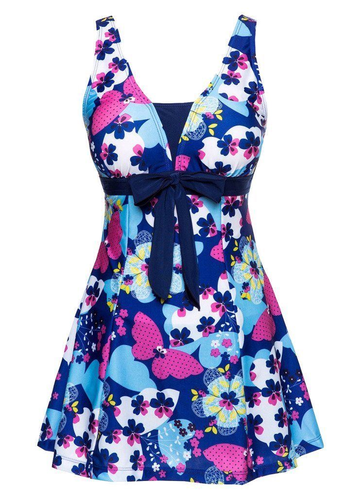 OUO Swimsuit One Piece Shaping Body Beachwear Swim Dress with Short: Amazon.co.uk: Sports & Outdoors