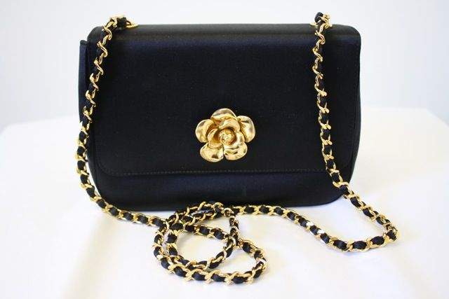 e5ca1876966f 90's CHANEL Black Satin Evening Bag with Large Gold Sculpted Camellia  Flower Clasp & Chain