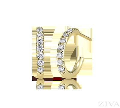 Small Diamond Hoop Earrings In Yellow Gold
