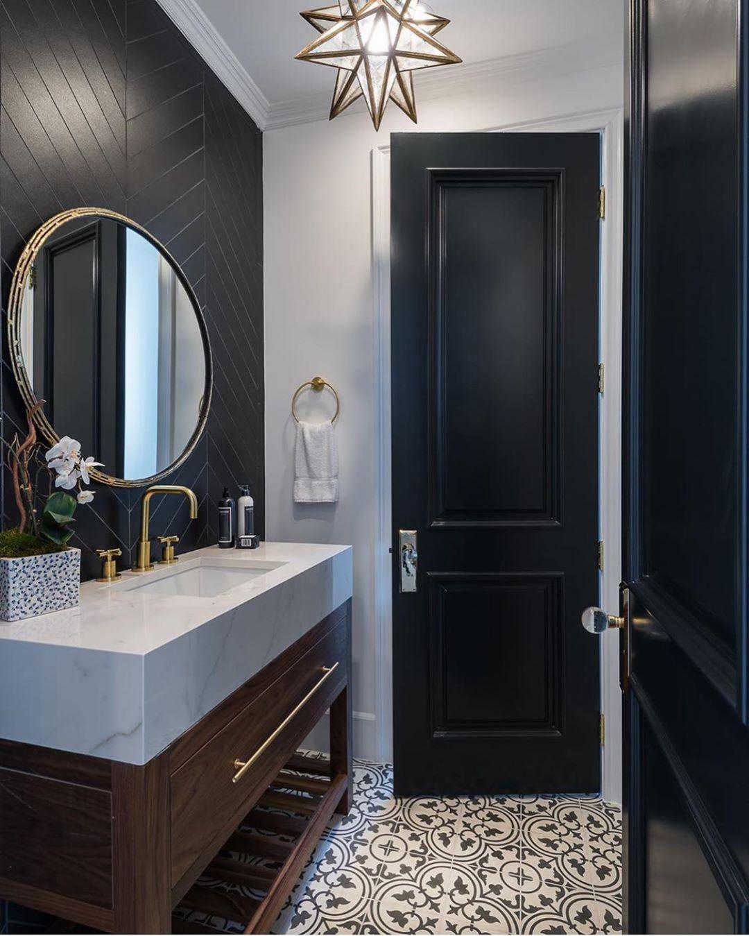 Bathroom Design Ideas Black And White Tiles Bathroom Black Marble Bathroom Luxury Powder Room