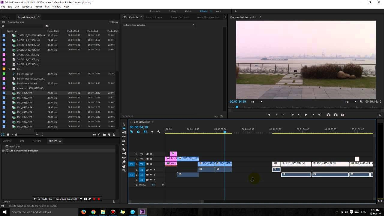 Adobe Premiere Pro shortcuts - How to insert a clip in the