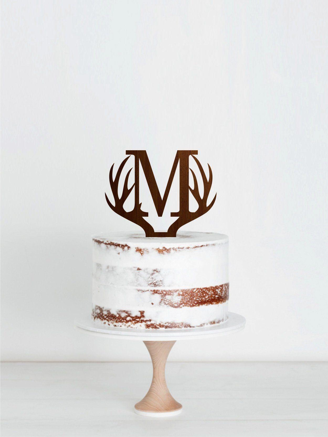 Letter m cake topper antlers wedding cake topper etsy