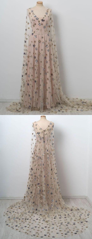 Chic v neck floor length stars pink prom dresseslong evening dress