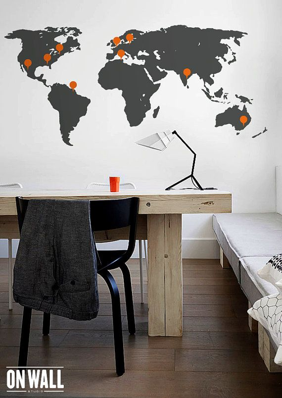 World map wall decal large detailed world map mural with point world map wall decal large detailed world map mural with point signs wm004 gumiabroncs Gallery