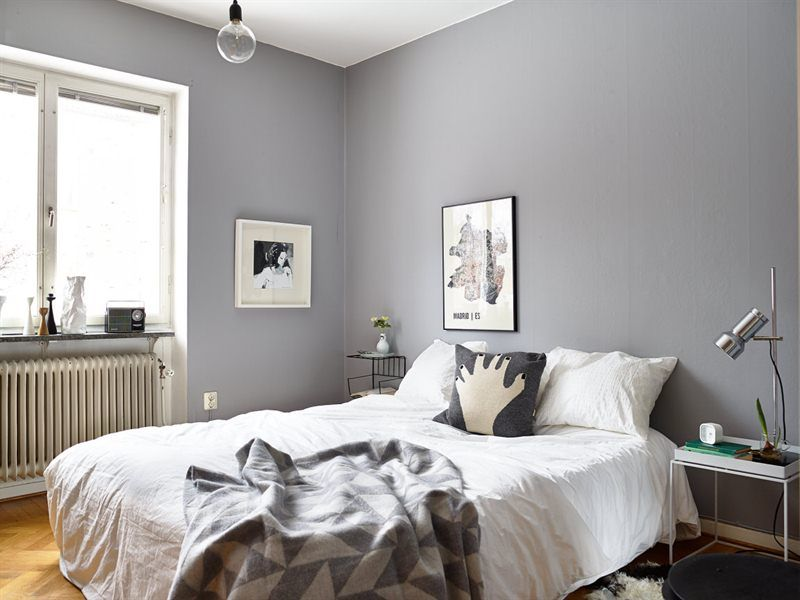 Lovely Bedding To Go With Grey Walls Part - 4: Grey Walls In Scandinavian Bedroom | Incredible Grey Walls Bedroom Design