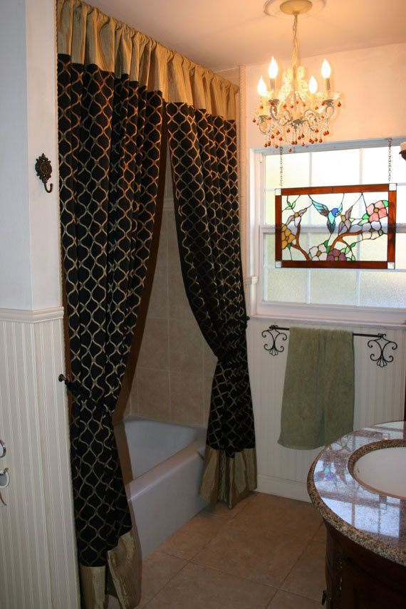 Sophisticated Fabric Shower Curtains Or Window Panels Black And