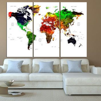Watercolor world map canvas art print large canvas print push pin watercolor world map canvas art print large canvas print push pin world map wall gumiabroncs Gallery