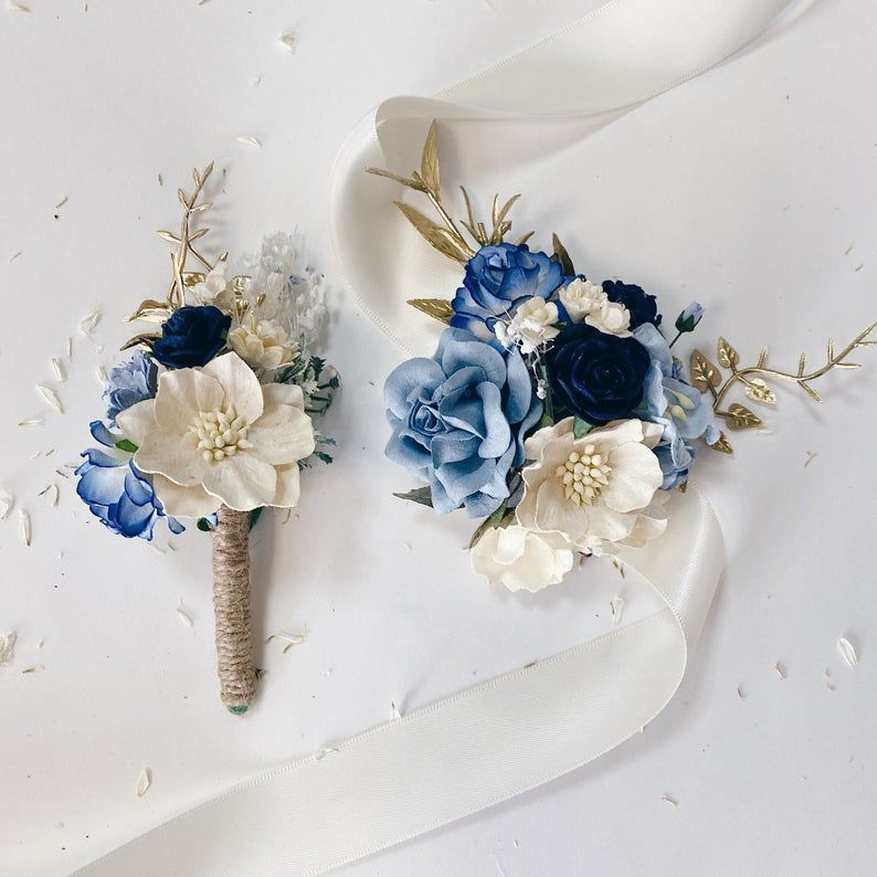 Wedding Corsage Mother of the Bride Corsage Mother of the Groom Corsage Navy Mint Grey Navy Corsage Navy Mint Grey Corsage Prom