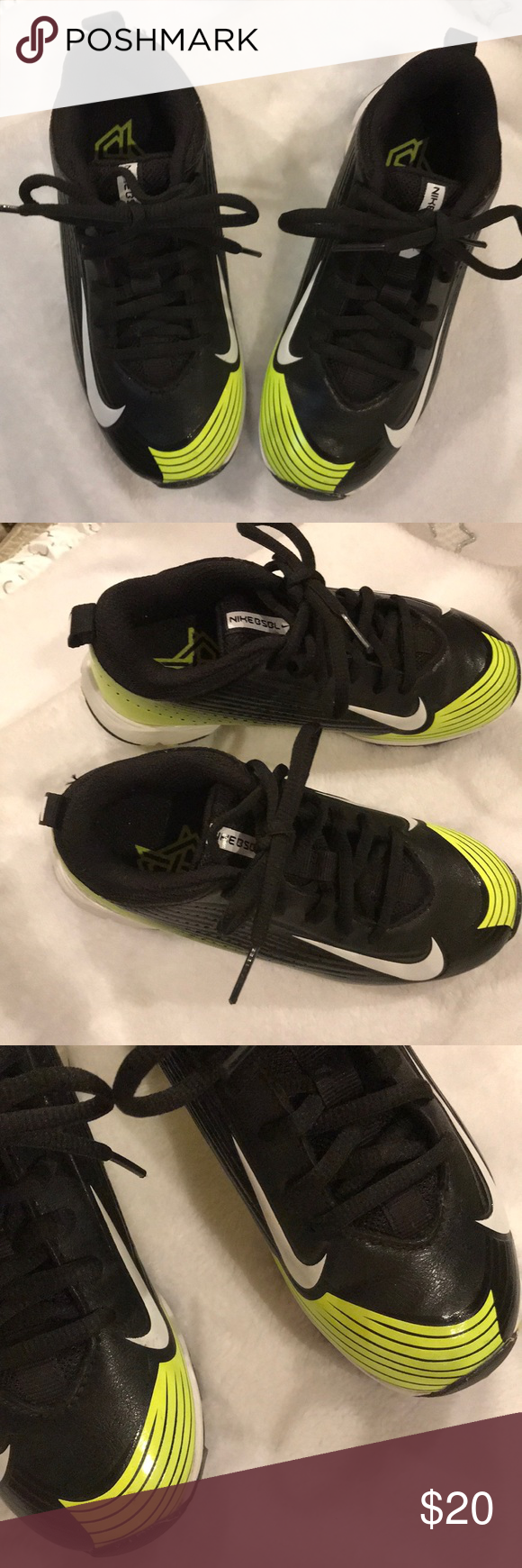 NIKE BOYS TENNIS SHOES with CLEATS They are absolutely adorable tennis shoe CLEATS for a boy to wear They are very stylish with the Nike emblem on the sides of them They...