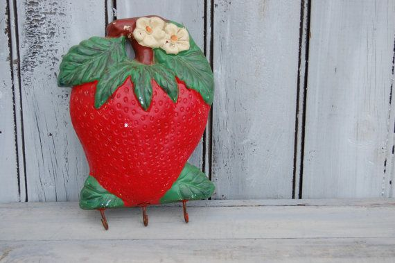 Strawberry Chalkware Strawberry Key Hook by SweetPetuniaVintage