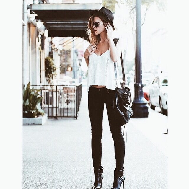 Fashion woman black pants and white summer fall spring