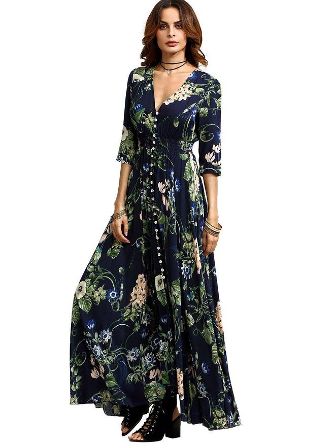 ea911b7681 Milumia Women's Button Up Split Floral Print Flowy Party Maxi Dress Pink S  at Amazon Women's Clothing store: