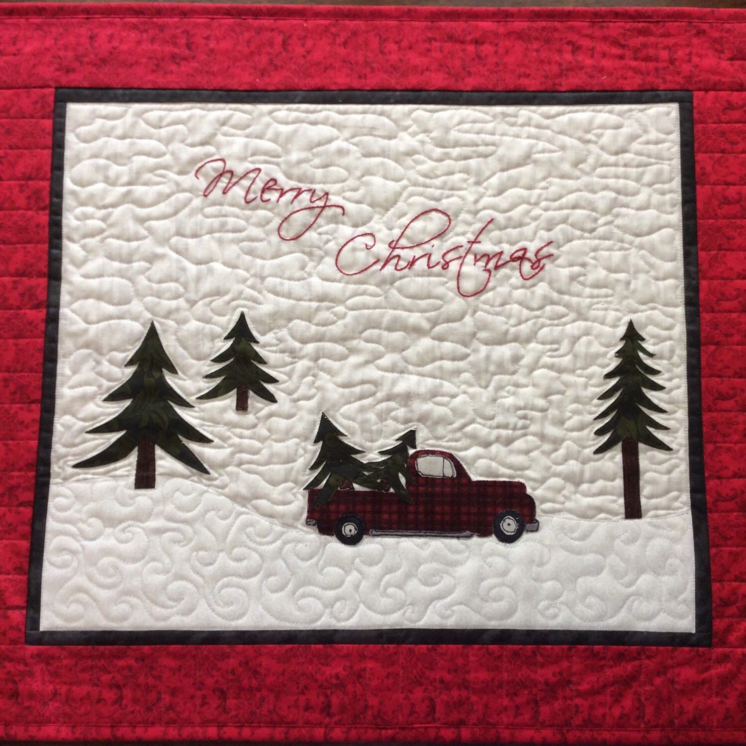 Darling Christmas Quilt With A Red Plaid Pickup Truck Hauling