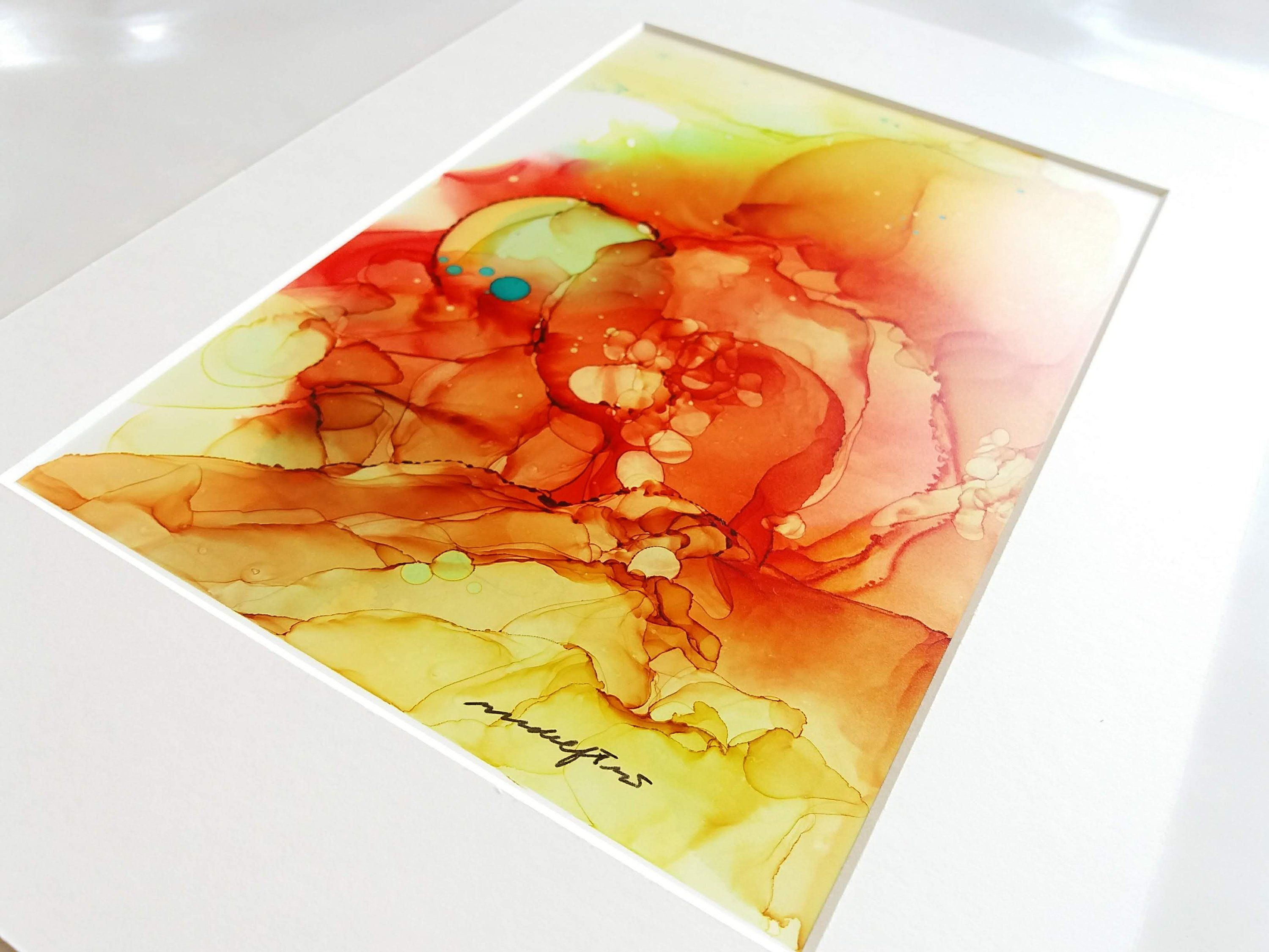 Summer Temperature Original Abstract Alcohol Ink Painting On