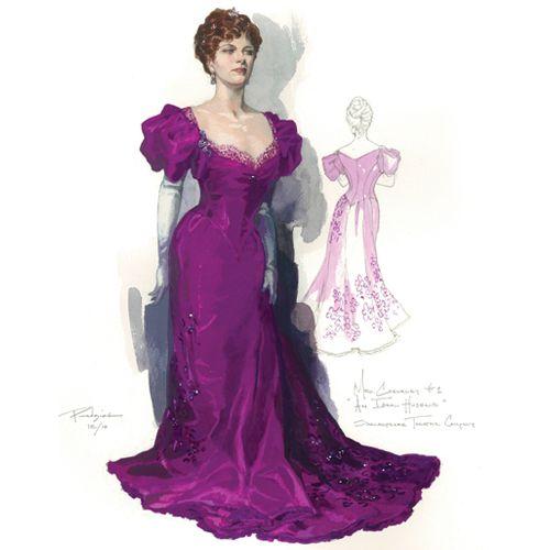 Diseños de vestuario por Robert Perdziola para la producción de la Compañía Shakespeare Theatre de Un marido ideal .