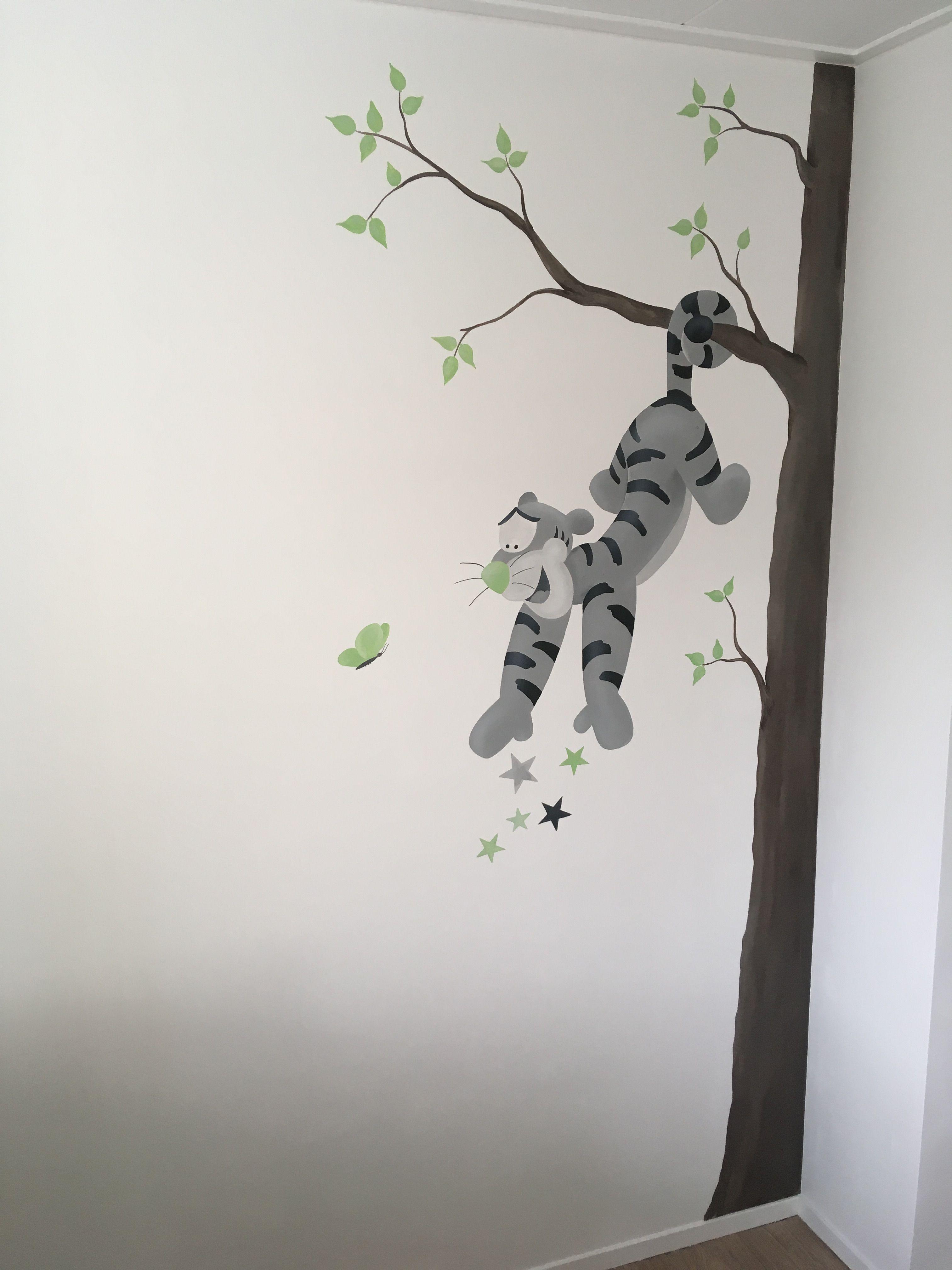 Muurstickers Babykamer Tijgertje.Muurschildering Van Tijgertje Op Een Babykamer Gemaakt Door