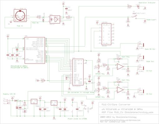 Midi To Cv Gate Converter Midi Electronics Circuit Guitar Effects