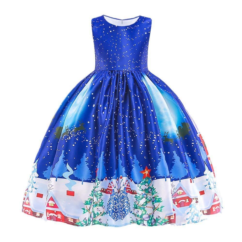 Lurryly Flower Children Girls Princess Floral Printed Sleeveless Clothes Dresss 6-9 T